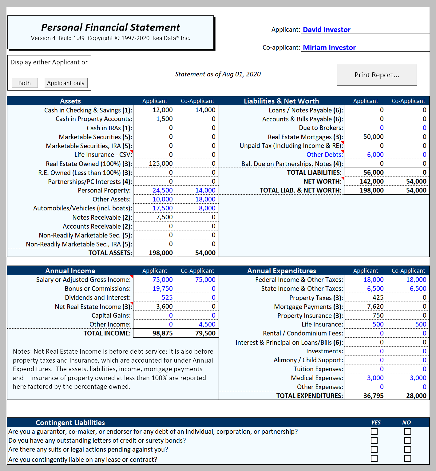 Sample Report. Personal Financial Statement